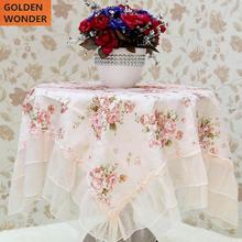 Brand New Table Cloth Fashion Beautiful Square Decoration Cover Pink Flower Lace