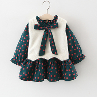 Baby Dress Full Sleeves Clothes For Newborn Girls Infant Dress Floral Dress Vest 2pcs Winter 1 Year Old Baby Girl Dress