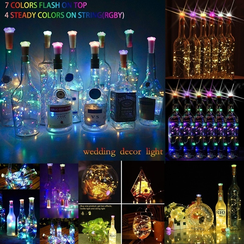 Jinhengyang 15LED Battery Operated Party Wedding Decoration Colorful Bottle LED String Lights Diamond Cork Lights (Pack Of 6)