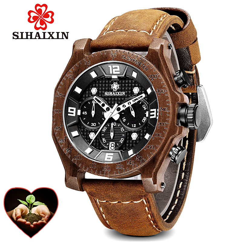 Wood Watch Men erkek kol saati Waterproof Date Red Leather Luxury Quartz Wristwatches Male Wooden relogio masculino Dropshipping