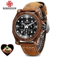 лучшая цена Wood Watch Men erkek kol saati Waterproof Date Red Leather Luxury Quartz Wristwatches Male Wooden relogio masculino Dropshipping