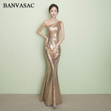 BANVASAC 2018 Elegant Sequined One Shoulder Mermaid Long Evening Dresses Gold Sleeveless Backless Party Prom Gowns