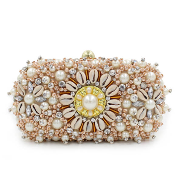 Luxury Gold Crystal Clutches Evening Bags Wedding Party Banquet wallet Women pearl beaded Handbags Bridal Rhinestones Clutch bag luxury real new arrival day clutches diamonds flower women bag banquet crystal handbag wedding party handbags night clubs purse