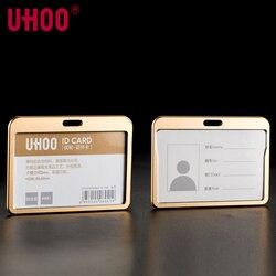 UHOO 6041 качество алюминиевого сплава Бизнес работа ID держатель для карт имя тега бейдж держатель золота и серебра держатель для Бейджа