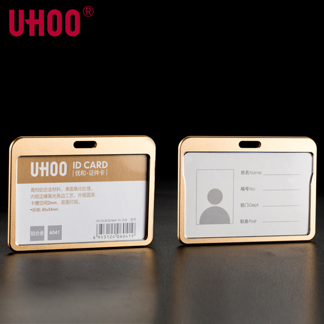 uhoo 6041 quality aluminium alloy business work id card holder name