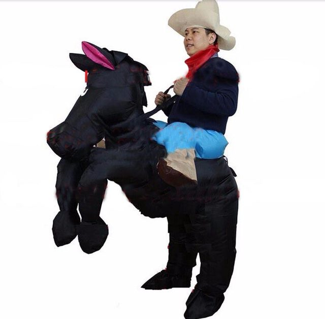 Purim Halloween Horse Cowboy Costumes for Adult Man and Woman Outfits Red Black Yellow Inflatable Cowboy Rider On Horse Costumes  sc 1 st  Aliexpress & Online Shop Purim Halloween Horse Cowboy Costumes for Adult Man and ...