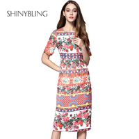 New Summer European American Women High Brand Fashionable Rose Floral Print Dress Short Sleeve Ladies Elegant