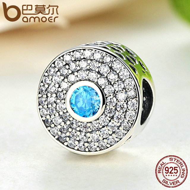 Sterling Silver Blue Stone Clearly CZ Round Charm