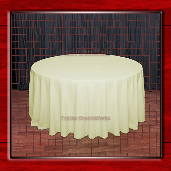 "Hot Sale  132"" R Maize Round Table Cloth Polyester Plain Table Cover for Wedding Events &Party Decoration(Supplier)"