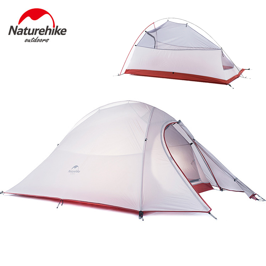 Naturehike Cloud Up 2 Ultralight Tent 2 Person 20D Silicone Fabric Double Layers With free Mat Camping Hiking Traveling VK107 naturehike cloud up series 1 2 3 person camping tent outdoor ultralight camp hiking waterproof tent with free mat