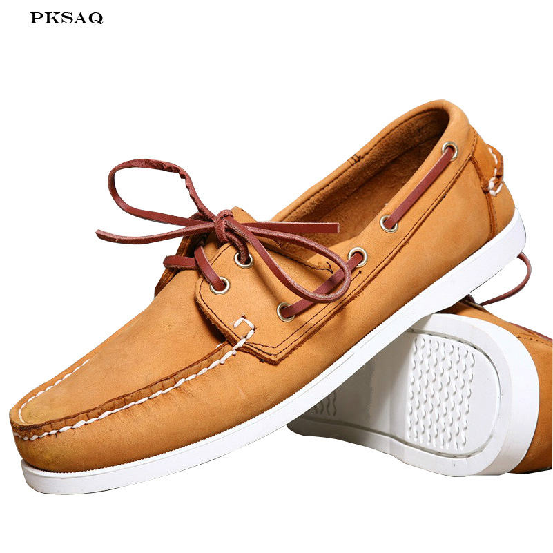 spring autumn Fashion Men's Boat Shoes   Leather   Casual Shoes Flat Lace Up Make In Hand Round Toe Men Shoes