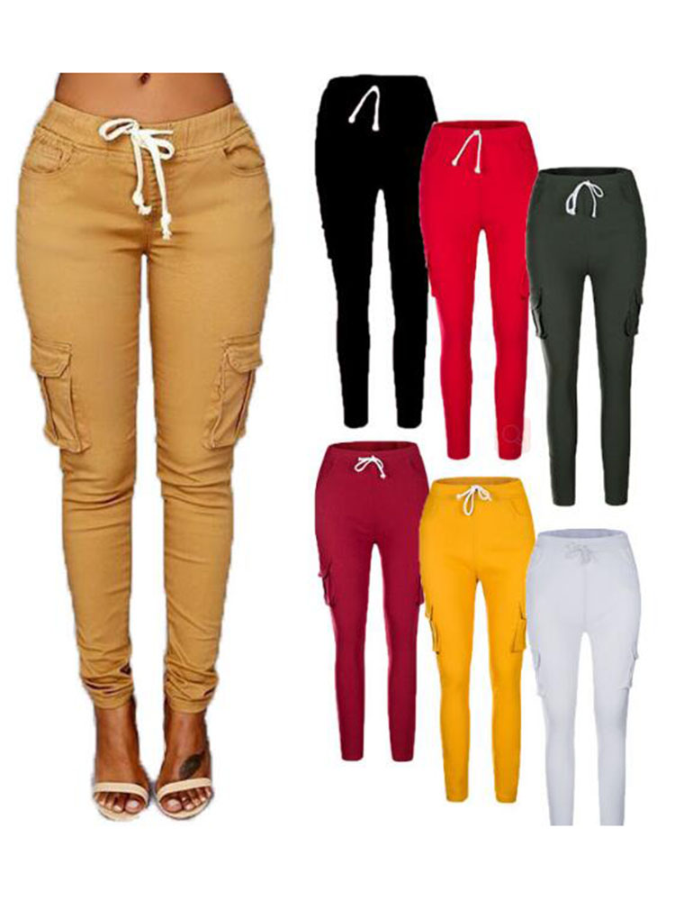 2019 Women Full Length Trousers Mujer Sporting Elastic Waist Black White Casual Combat 4xl Plus Size Pants With Multiple Pockets