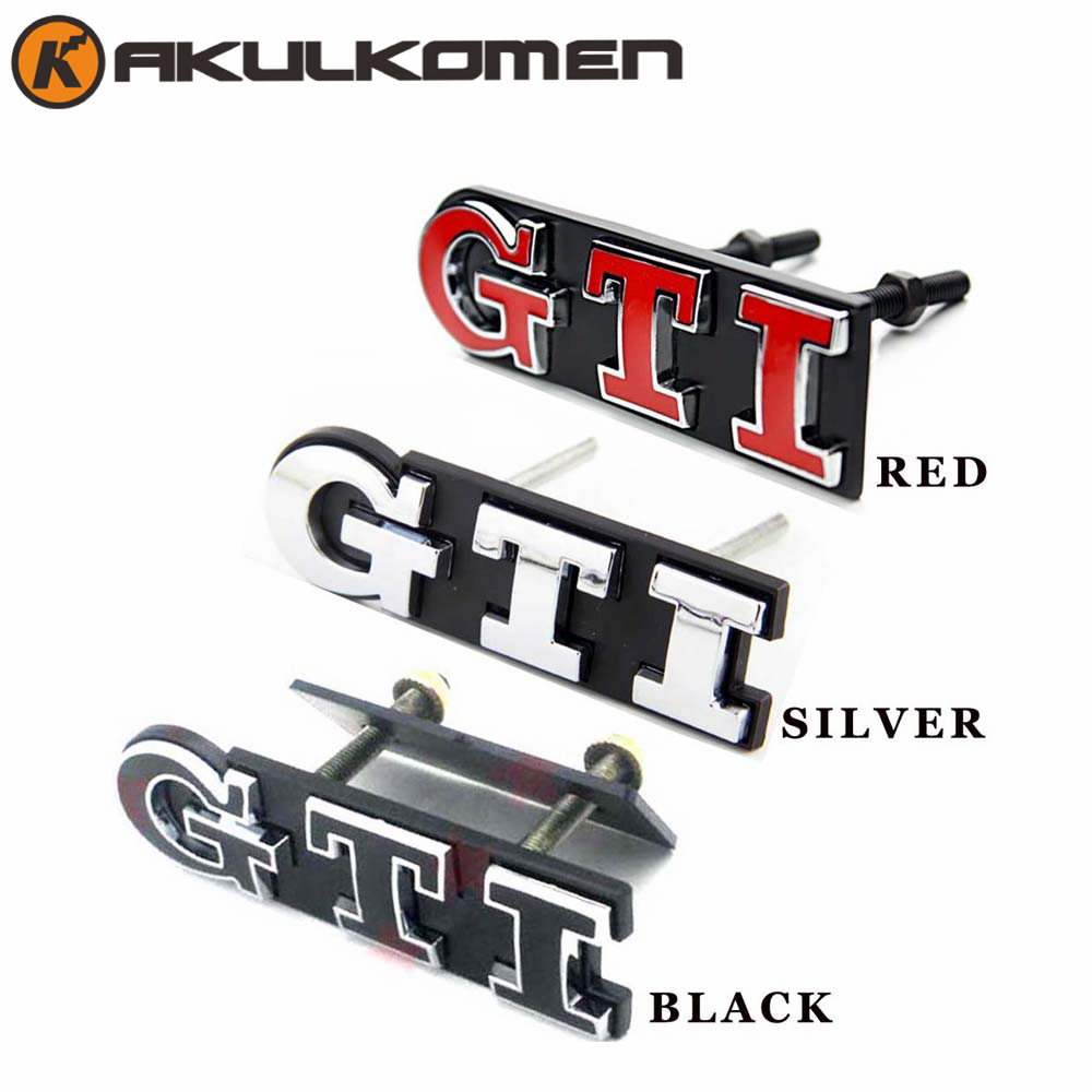 Car Refitting GTI Front Grille Letter Logo Emblem Metal Car Head Grill Badge for Volkswagen VW Polo Golf 4 Golf 5 Golf 6 front grille led emblem logo light 4 colors abs decorative grill lamp for f ord r anger t7 2016 2017 car styling