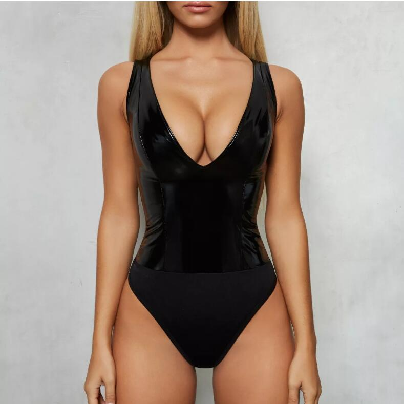 Enthusiastic Black Deep V Neck Pu Leather Sexy Bodysuit Women Rompers Sleeveless Skinny Short Rompers Womens Jumpsuit Casual Overalls Do You Want To Buy Some Chinese Native Produce? Women's Clothing