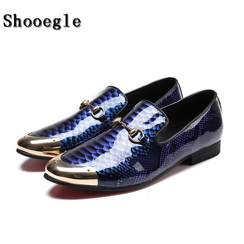 Здесь продается  SHOOEGLE Men Patent Leather Casual Shoes Slip On Flat Boat Shoe Mens Dress Loafers Chaussure Homme Tenis Masculino Adulto 38-47  Обувь