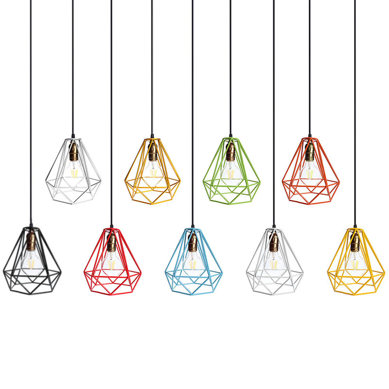 Industrial loft style multicolor edison modern metal wire frame industrial loft style multicolor edison modern metal wire frame ceiling pendant hanging light lamp lampshade cage fixture in lamp covers shades from greentooth Images