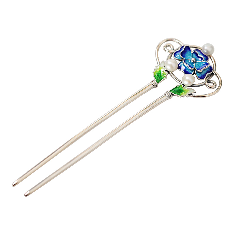 Cloisonne Thai Silver Hair Stick Enamel Silver Chinese Pearl Hairpin 2 prong Peony Flower Hair Fork