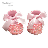 Dollbling Plush Pink Pearls Christening Bella Custom Handmade DIY Design Princess Rhinstones Baby Shoes 0 1Y Etsy Supplier