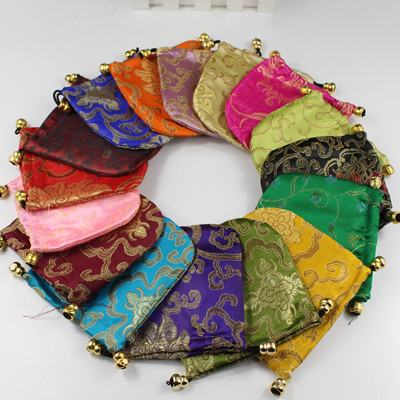 brocade bag beads bag jewelry pouch 100pcs lot mixed colors