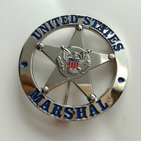 Takerlama Obsolete United States Metal Badge Round Silver Uniform Cosplay Badges Collection Gift