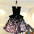 Robe Cocktail Handmade Flower Dress For Graduation Teens Knee Length Homecoming Gown 2016 Vestido De Formatura
