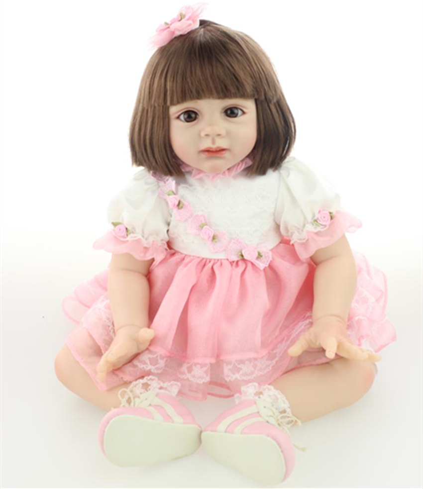 New Arrival 60cm Safety Soft Silicone Reborn Fridolin Doll Lovely Little Girl Rooted Smooth Hair with free magnet pacifier