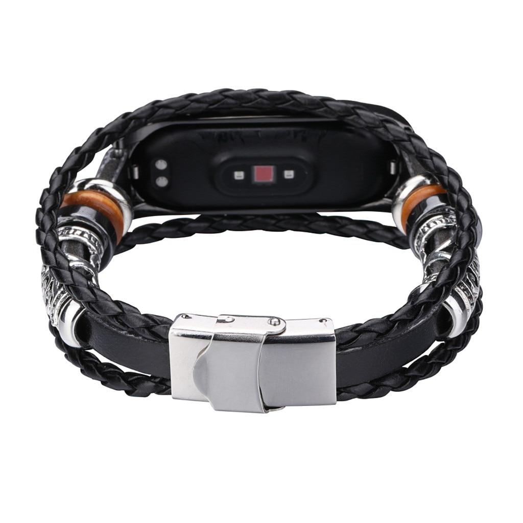 HTB1PnTtarj1gK0jSZFuq6ArHpXaG 2020 For Xiaomi Mi Band 4 Replacement Leather Beading Bracelet Strap Weave Braided фитнес браслет смарт браслет#G20
