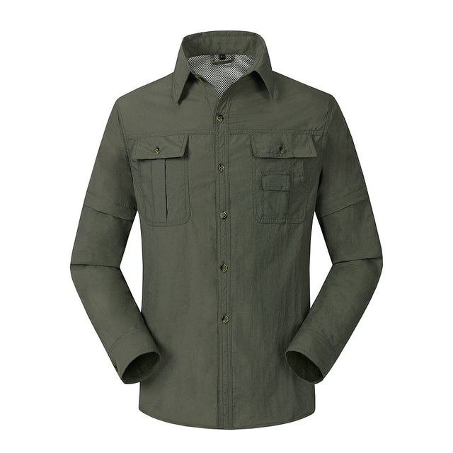 2016 Новый Quick Dry Мужчины Рубашка Съемный Мужские Рубашки Уф-защитой Дышащий Мужской Одежды Повседневная Одежда LA001