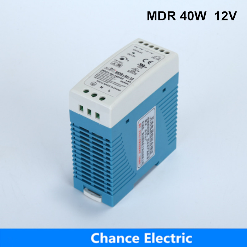 Din Rail Switching Power Supply MDR for cnc cctv Light Direct Selling MDR40W-12V LED Industry 40W 12V free shipping din rail industry switching power supply mdr 60w 5v 12a for cnc cctv led light mdr60w 5v