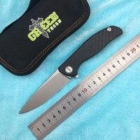 Green thorn HATI 95 Flipper folding knife M390 steel bearing titanium CF 3D handle camping hunting outdoor fruit Knives EDC tool