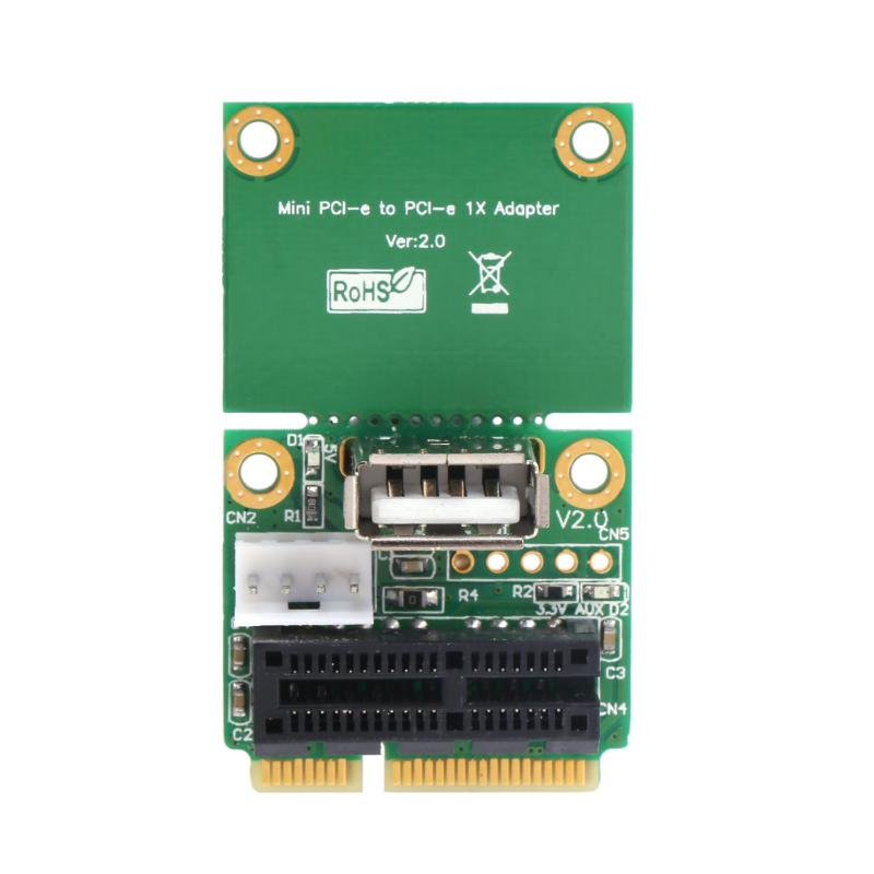 Vakind PCI-E 1X to Half/Full Mini PCI-E USB Adapter PCI Express Interface Card with 4 Pin to SATA Power Cable 2pcs cf mini pci e mini pci e adapter mini pci express cf card to mini pci e express adapter as ssd for eeepc 901 900a