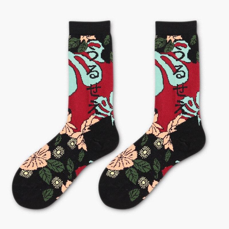 2018 New Japanese graffiti female male cotton socks color flower pattern Harajuku casual comfort and fun socks costume sokken