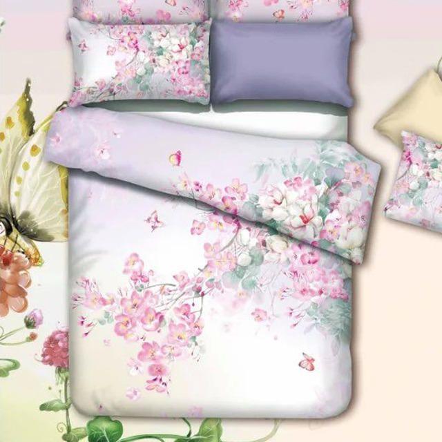 Oriental Watercolor Flowers and Butterfly Bedding Set Queen Size ... : oriental quilt cover - Adamdwight.com
