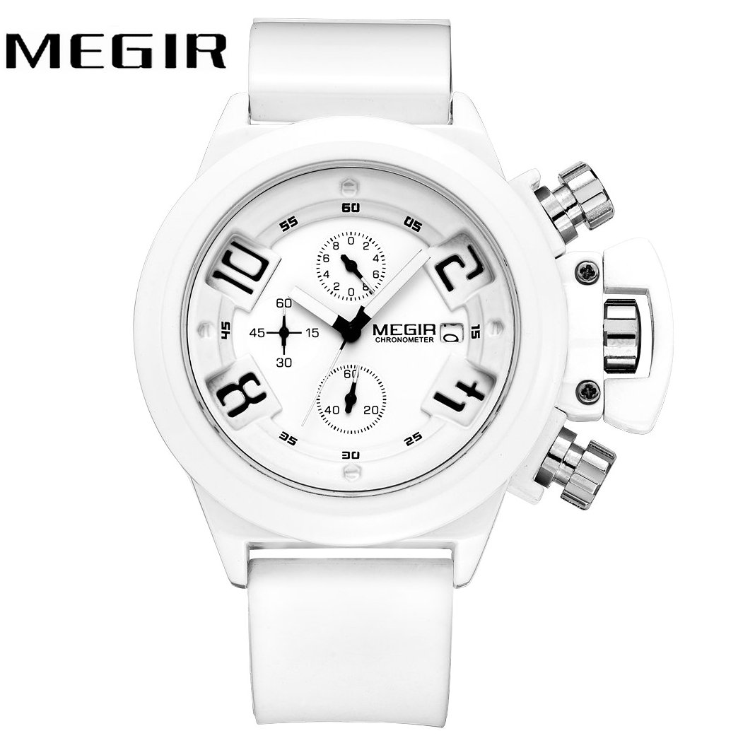 MEGIR Fashion Military Men Quartz Wrist Watch Waterproof Arabic Number 3D Dial Silicone Strap Top Brand Luxury relogio masculino