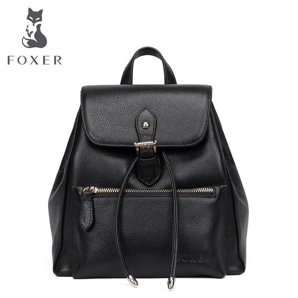 FOXER Brand 2017 New Women's Genuine Leather Backpack Girl's School Bag Soft Preppy Style Backpacks For Female