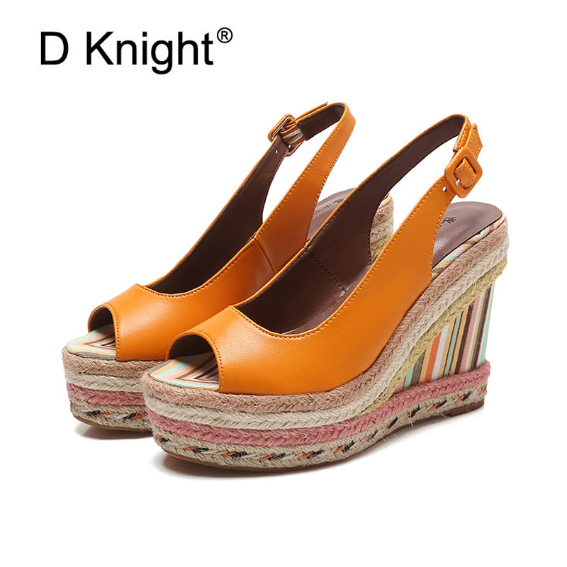 Summer New Womens Wedges Sandals Thick-soled Rainbow Canes Platform High-heeled Shoes Boho Straw Strap Lady Wedge Sandals ShoesSummer New Womens Wedges Sandals Thick-soled Rainbow Canes Platform High-heeled Shoes Boho Straw Strap Lady Wedge Sandals Shoes