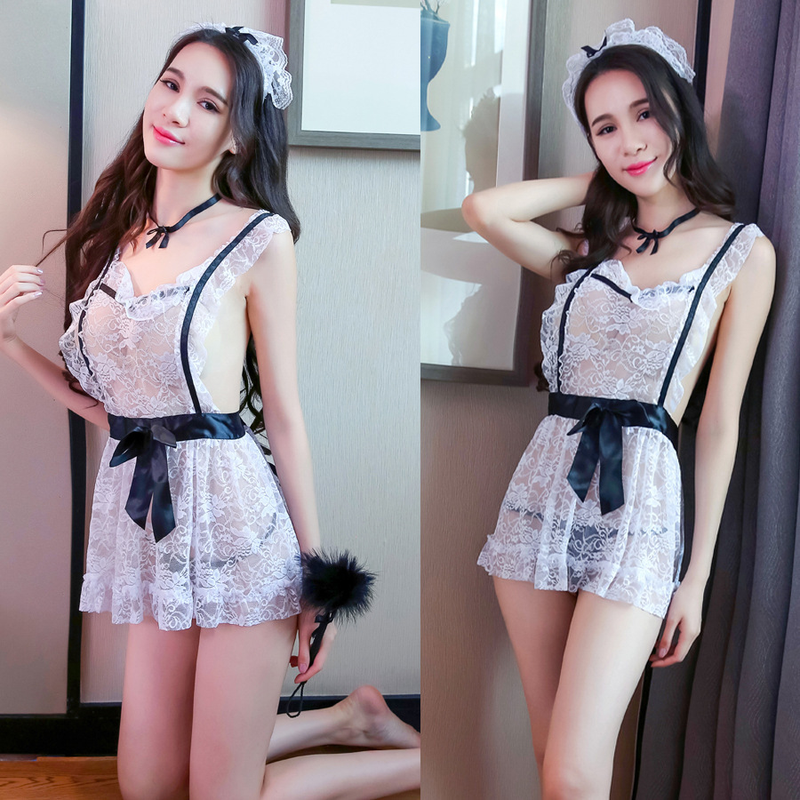 Women Hot Exotic Lace Lingerie Sexy Maid Cosplay Uniform See Through Babydoll Costume Sexy Porno Underwear Apron Pajamas Lingrie