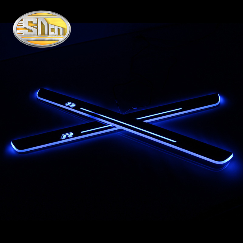 SNCN Waterproof Acrylic Moving LED Welcome Pedal Scuff Plate Pedal Door Sill Pathway Light For Volkswagen