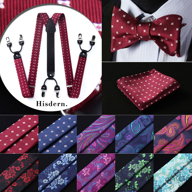 Floral Paisley Various Classic Braces 6 Clips Suspenders Self Bowtie  Pocket Square Set#S3