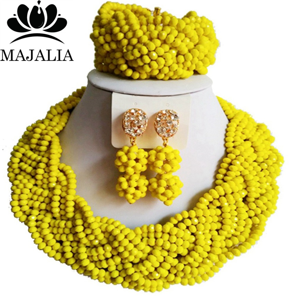 Trendy Nigeria Wedding african beads jewelry set yellow Crystal necklace bracelet earrings Free shipping VV-264 цена