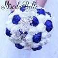 Hecho a mano Bling Broche Ramo De La Boda Con El Cristal Blanco Azul Real Satén de La Perla Ramo De Mariage 2017 Ramo de Novia de La Vendimia