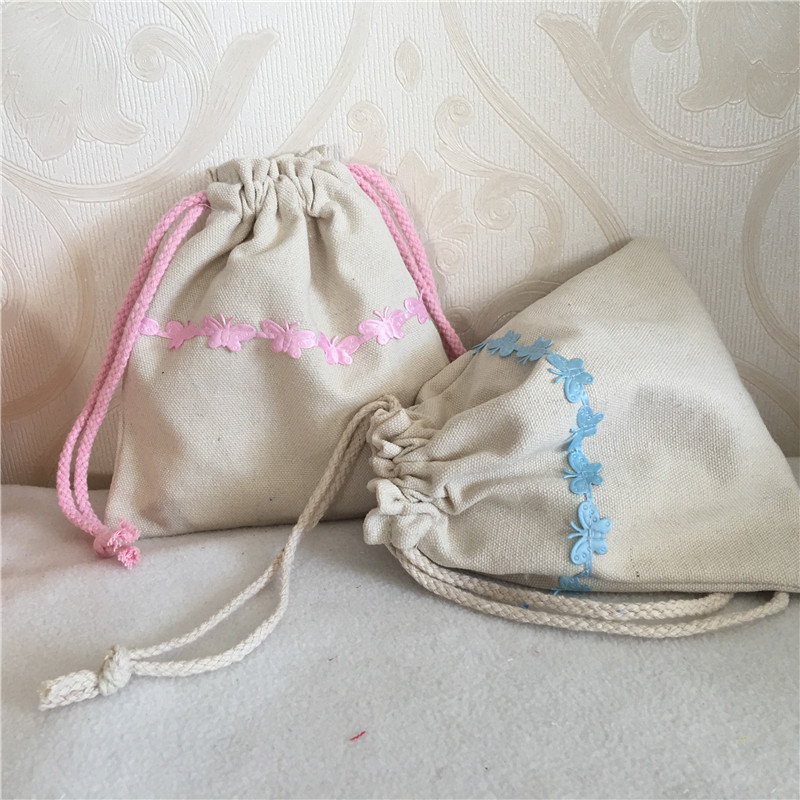 YILE Cotton Canvas Drawstring Multi-purpose Organizer Pouch Party Gift Bag Blue Pink Butterfly Trim 8410C
