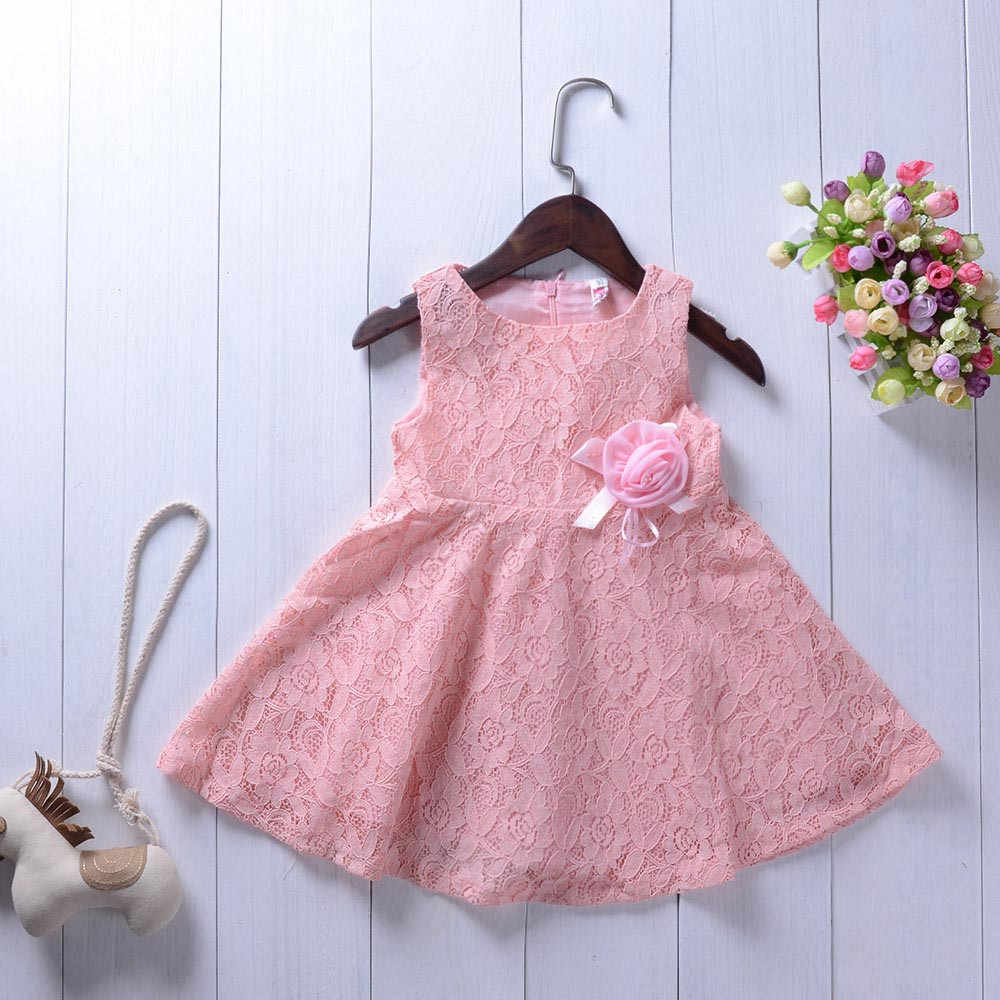2019 Toddler Baby Girls Sleeveless Lace Sunflower Print Dress Outfits Set Clothes Priness Lovely Dresses 35