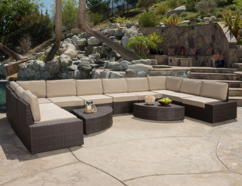 Superior SIGMA Outdoor Garden Furniture Wicker 12 Patio Conversation Set With  Cushions