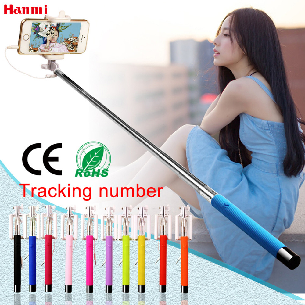 Mini Foldable Self Stick Tripod Monopod Wired Selfie Stick Cable Extendable Built-in Shutter Stick For iPhone Samsung Smartphone ...