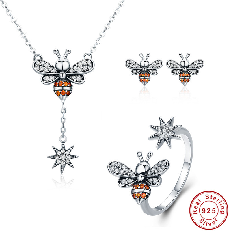 INBEAUT New Trendy 925 Sterling Silver Brown&White CZ Honeybee Snowflake Pendant Necklace Earrings Rings for Women Wedding Gift rhinestone alloy honeybee glaze pendant necklace