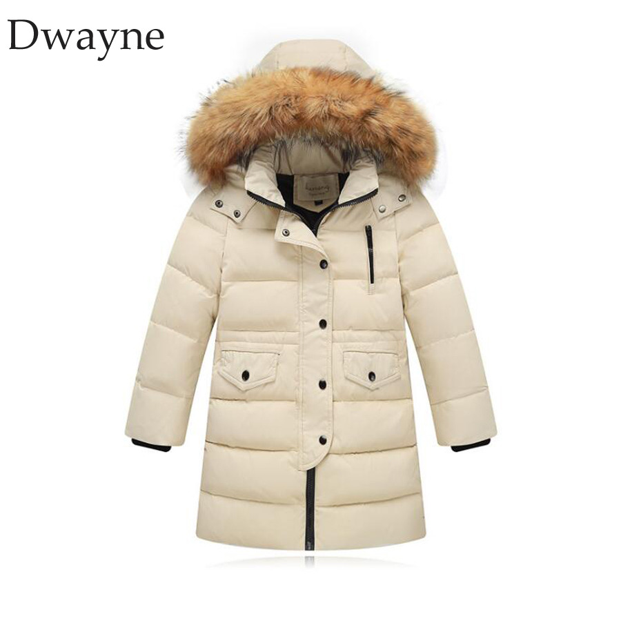 New Kids Winter Down Jacket Girls Thickened Warm Down Jackets Coat Boys long Fur Outerwear Parkas For Girl Hooded Children Coats 2018 kids long parkas winter jackets for girls fur hooded coat winter warm down jacket children outerwear infants thick overcoat