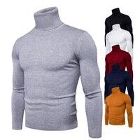 Весна осень новый сплошной цвет Pull Homme водолазка свитер платье высокая эластичность Тонкий пуловер мужской трикотаж Мужская одежда 3XL