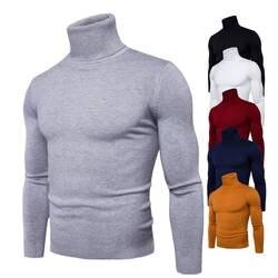 Демисезонный Новые однотонные цвета тянуть Homme водолазка платья свитеры высокая эластичность Тонкий пуловер для мужчин Трикотаж