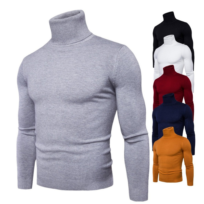 Spring Autumn New Solid Colors Pull Homme Turtleneck Sweater Dress High Elasticity Slim Pullover Men Knitwear Men Clothing 3XL image